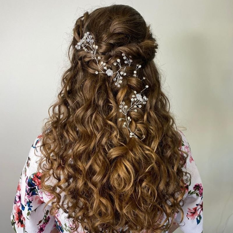 bridal styling with flowers in hair